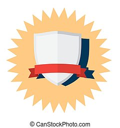 Silver Shield with red ribbon vector icon