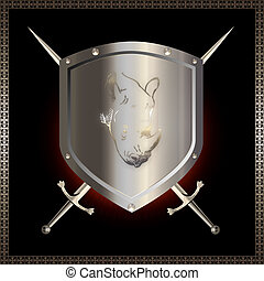 Silver shield with swords. - Decorative heraldic background....