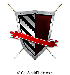 Silver shield,red ribbon and spears on white background.