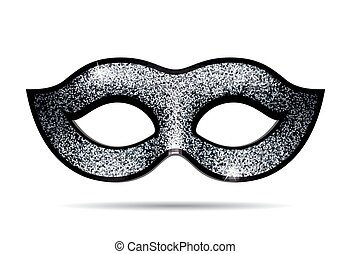 Silver shining carnival mask for masquerade costume. ...
