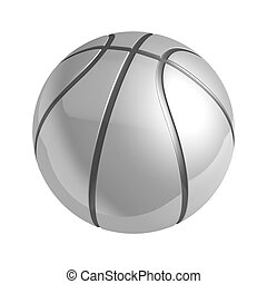 Silver shiny basketball with reflection isolated 3d...