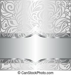 Silver shiny floral vintage pattern wallpaper background