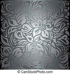 Silver shiny floral vintage wallpaper background