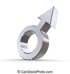 Silver Shiny Male Symbol - male symbol in silver chrome on a...