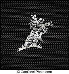 silver skeleton in helmet on motorbike with flames