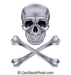 Silver Skull and crossbones. Illustration on white background for design