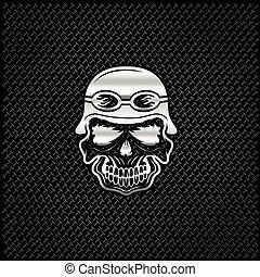 silver skull in helmet on metal background, biker theme