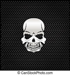 silver skull on metal background