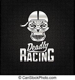 silver skull racer with flame glasses vintage vector design template
