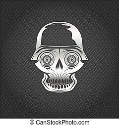 silver skull with wheel eyes on metal background