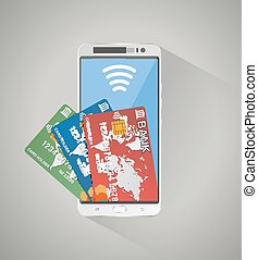 concept of mobile banking and online payment