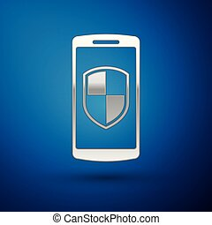 Silver Smartphone, mobile phone with security shield icon isolated on blue background. Vector Illustration