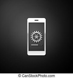 Silver Smartphone update process with gearbox progress and loading bar icon isolated on black background. System software update and upgrade concept. Long shadow style. Vector