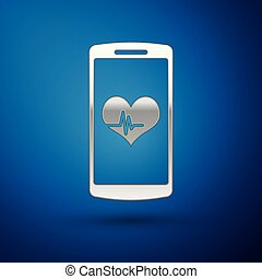 Silver Smartphone with heart rate monitor function icon isolated on blue background. Vector Illustration
