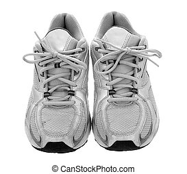 Silver sneakers isolated on the white background
