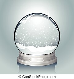 Realistic vector snow globe with falling snowflakes. File has named layers for easy editing. Colors are global swatches, so they can be modified easily.