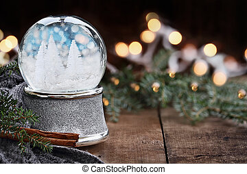 Silver Snow Globe with Miniature White Christmas Trees