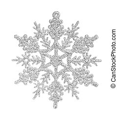 Silver snowflake isolated on the white