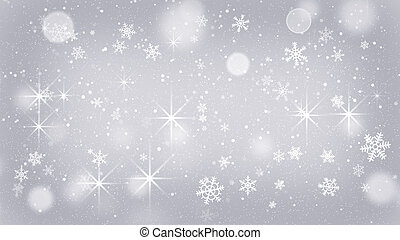 silver snowflakes and stars abstract background