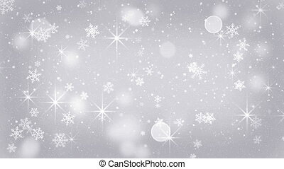 silver snowflakes and stars falling seamless loop