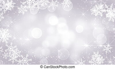 silver snowflakes frame loopable background