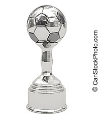 Silver soccer ball trophy on pedestal isolated on white....