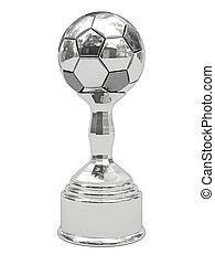 Silver soccer ball trophy on pedestal