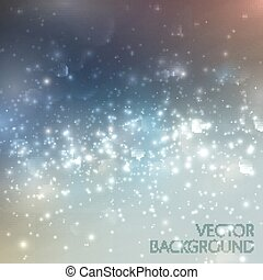 Silver sparkling background with glowing sparkles and glitters. Shiny holiday illustration