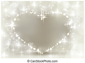 Silver sparkling Christmas heart - Heart shaped space for...