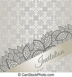 Silver special occasion (engagement, wedding, birthday party) invitation card. This image is a vector illustration