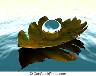 Silver sphere on a leaf floating on a body of water