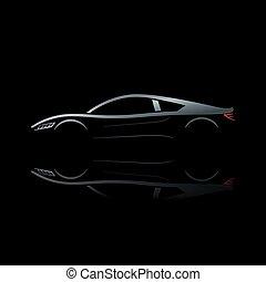 Silver sport car on black background