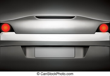 Silver sports car rear view