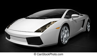 silver sports car on a black background