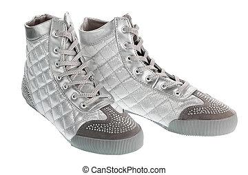 Silver sports footwear