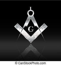 Silver square and compass - Engraved silver square and...