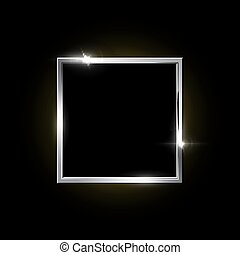 Silver square frame isolated on black background. Vector design element.