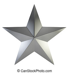 Silver star. 3d illustration isolated on white background
