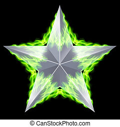 Silver star aflame
