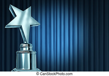 Silver star award on blue curtains or velvet drapes with a spot light representing an achievement trophy prize on a theater stage during an awards ceremony to celebrate the winner of the shiny honor.