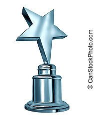 Silver star award on a blank metal trophy isolated on white representing a first or second place prize as an icon of success and achievement, of a sports or entertainment competition.