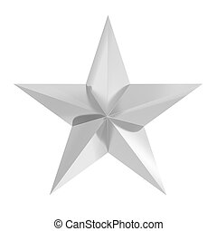 Silver star icon, isolated on white background
