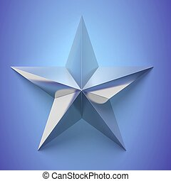 Silver star icon,on blue background