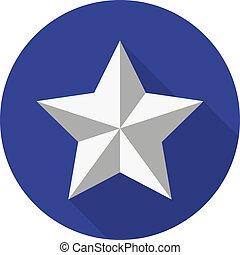 Silver star on a background of a blue circle with a shadow