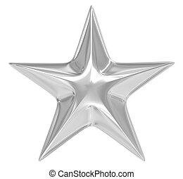 Silver star over white