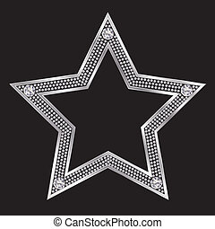 Silver star with diamonds, vector
