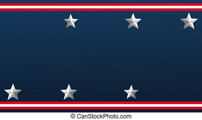 silver stars and stripes in blue background animation ,4k video animated