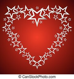 Silver stars in the shape of heart vector