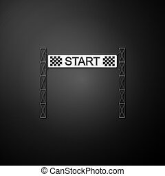 Silver Starting line icon isolated on black background. Start symbol. Long shadow style. Vector