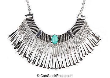 Silver statement necklace isolated on white